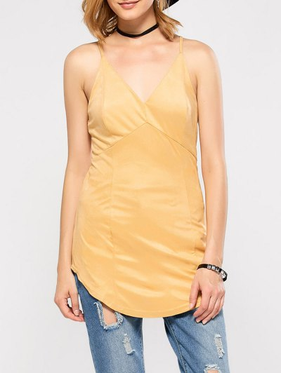 Suede Criss Back Slip Top - YELLOW S Mobile