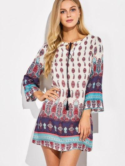 Retro Print Tunic Dress - COLORMIX M Mobile