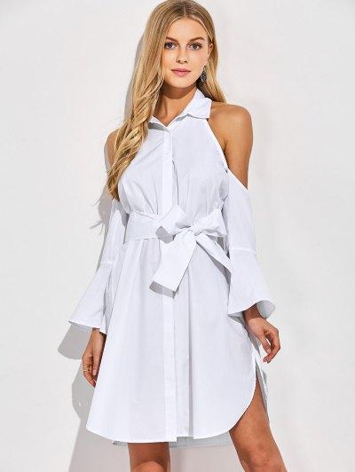 Cold Shoulder Flared Cuffs Shirt Dress - WHITE L Mobile