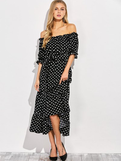 Ruffles Polka Dot Off Shoulder Maxi Dress - BLACK XL Mobile