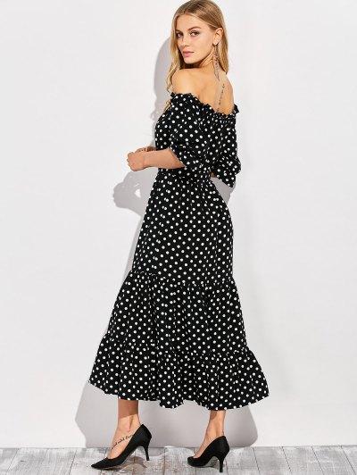 Ruffles Polka Dot Off Shoulder Maxi Dress - BLACK M Mobile
