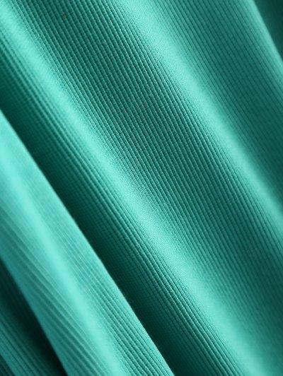 Cold Shoulder Turtle Neck Knitwear - GREEN L Mobile