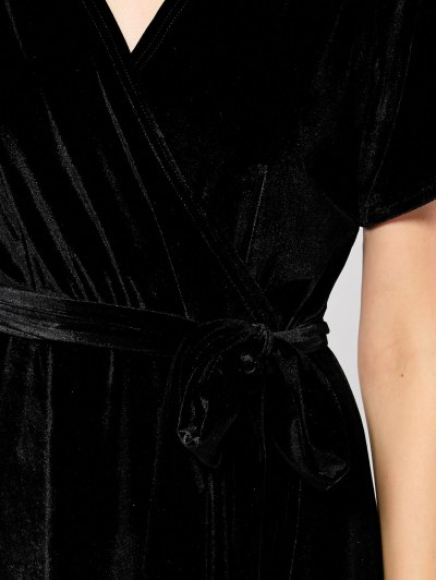 Wrap Asymmetric Maxi Dress - BLACK L Mobile