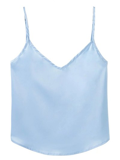 Adjusted Satin Camisole - LIGHT BLUE M Mobile