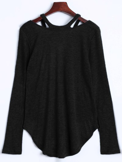 Cut Out V Neck Pullover Sweater - BLACK M Mobile