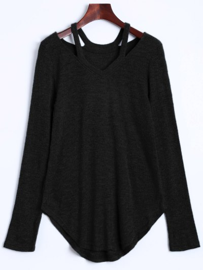 Cut Out V Neck Pullover Sweater - BLACK S Mobile