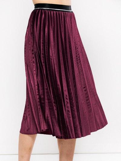 Accordion Pleat Velvet Skirt - BURGUNDY ONE SIZE Mobile