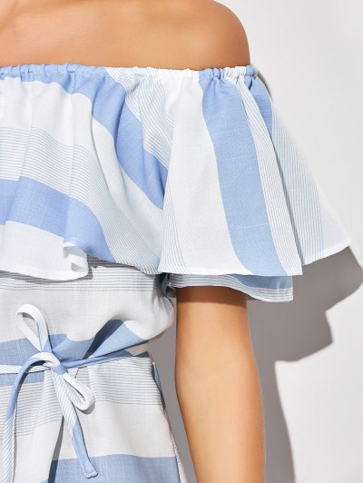 Ruffles Off The Shoulder Striped Dress - BLUE AND WHITE XL Mobile
