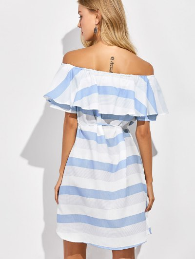 Ruffles Off The Shoulder Striped Dress - BLUE AND WHITE L Mobile