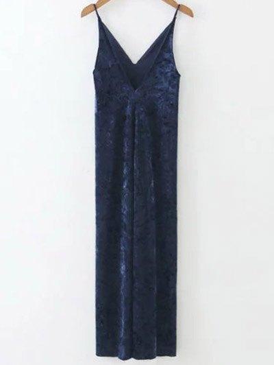Velvet Slit Midi Dress - SAPPHIRE BLUE M Mobile