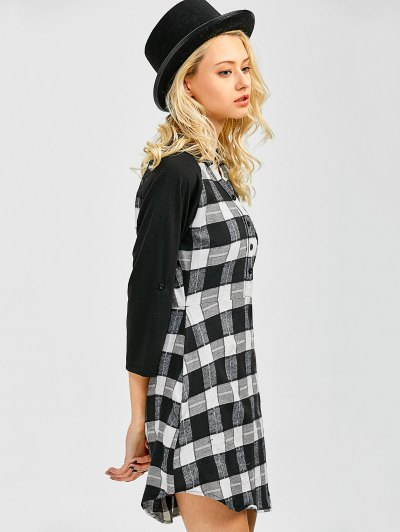 Checked Lace Panel Mini Shift Dress - CHECKED XL Mobile