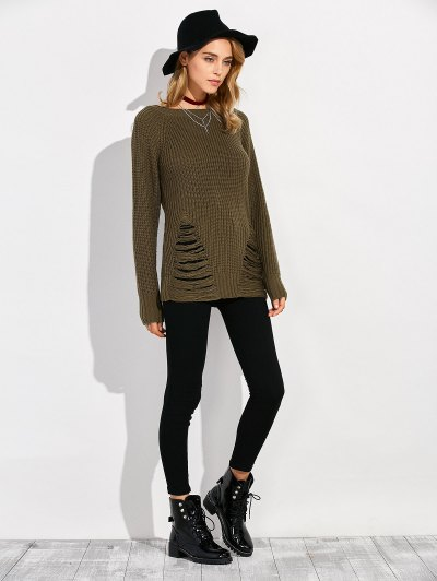 Ripped Chunky Crew Neck Sweater - ARMY GREEN L Mobile