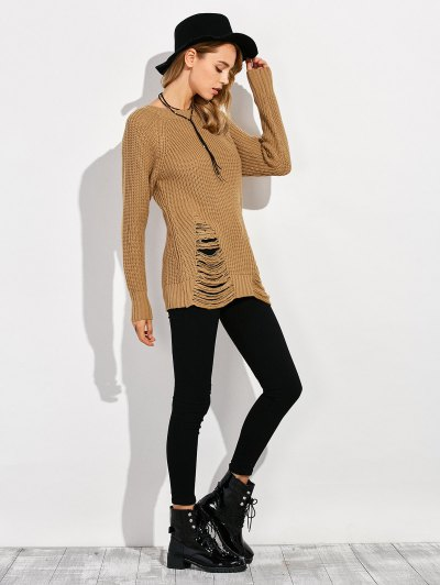 Ripped Chunky Crew Neck Sweater - BROWN 2XL Mobile