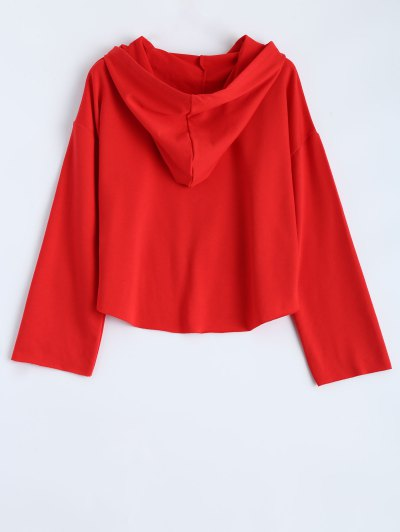 Cropped High Low Hoodie - RED L Mobile