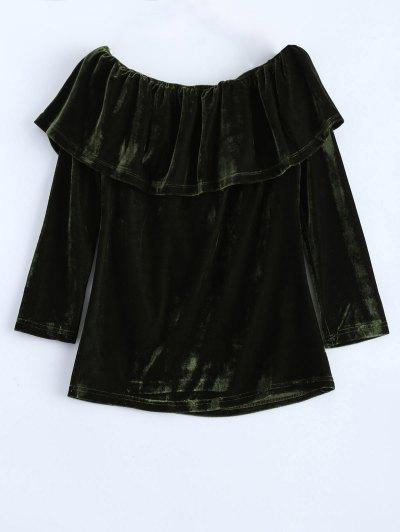 Velvet Off Shoulder Ruffles T-Shirt - GREEN L Mobile