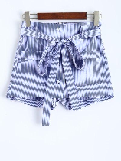 Belted Striped Shorts - STRIPE L Mobile