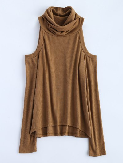 Cold Shoulder Turtle Neck Knitwear - KHAKI L Mobile