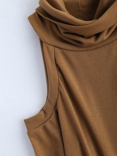 Cold Shoulder Turtle Neck Knitwear - KHAKI S Mobile