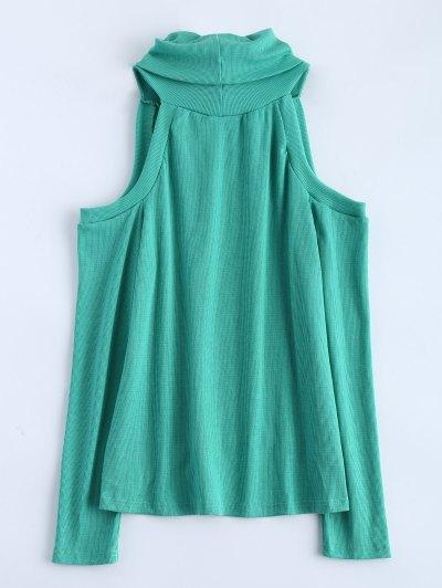 Cold Shoulder Turtle Neck Knitwear - GREEN XL Mobile