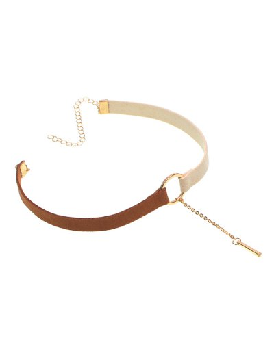 Chain Tassel Circle Velvet Choker - WHITE AND BROWN  Mobile