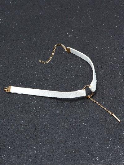 Chain Tassel Circle Velvet Choker - WHITE  Mobile