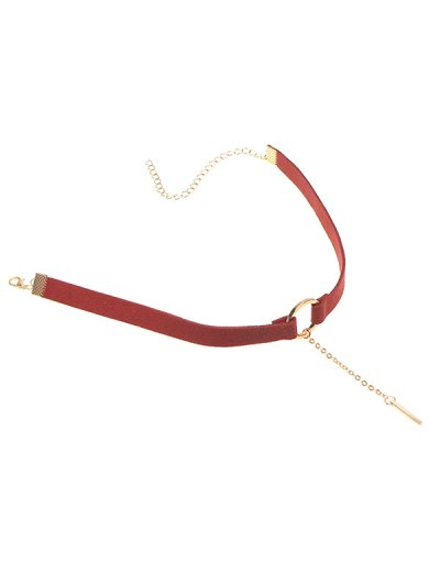 Chain Tassel Circle Velvet Choker - BURGUNDY  Mobile
