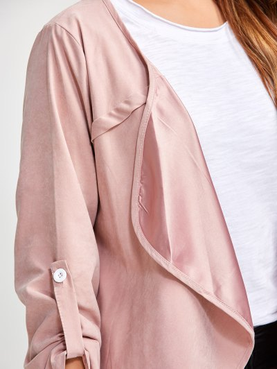 Drape Front Plus Size Coat - PINK 5XL Mobile