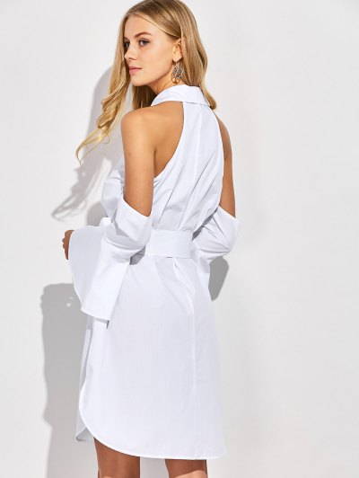 Cold Shoulder Flared Cuffs Shirt Dress - WHITE S Mobile