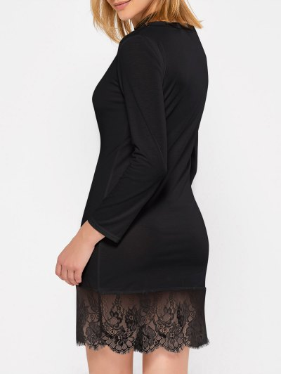 Lace Spliced Slash Neck Dress - BLACK XL Mobile