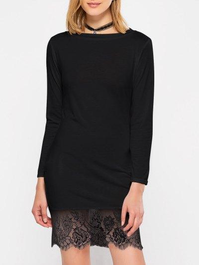 Lace Spliced Slash Neck Dress - BLACK M Mobile