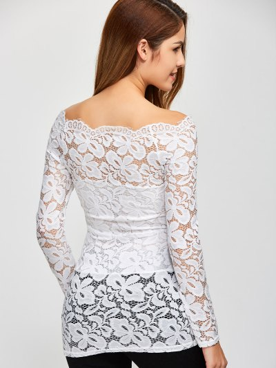 Fitting Off The Shoulder Lace Blouse - WHITE L Mobile