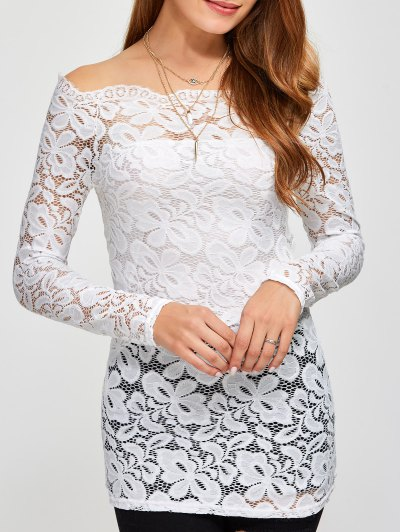 Fitting Off The Shoulder Lace Blouse - WHITE M Mobile