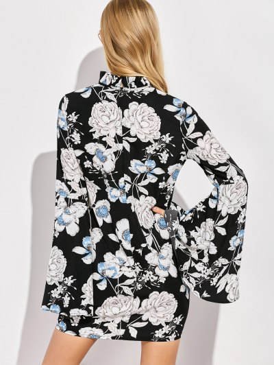 Floral Print Bell Sleeves Dress - BLACK S Mobile