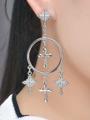 Crosses Tassel Round Drop Earrings - Silver