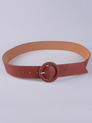 PU Round Buckle Belt - Chocolate