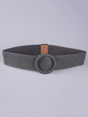 Round Buckle Stretch Belt - Gray