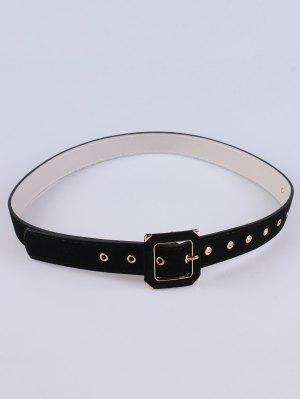 Square Buckle Velvet Belt - Black