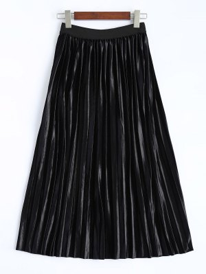 Shiny Pleated Midi Skirt - Black