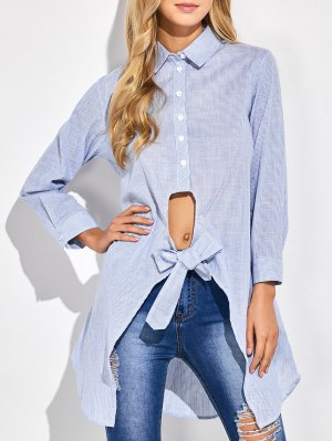 Striped Knotted Long Shirt - Stripe