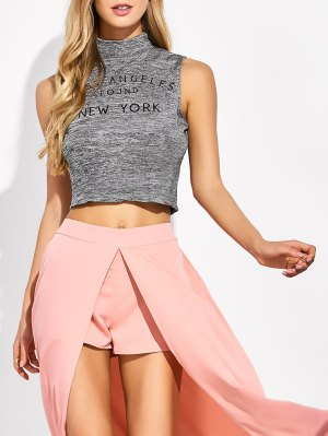 High Neck Cropped Tank Top - Gray