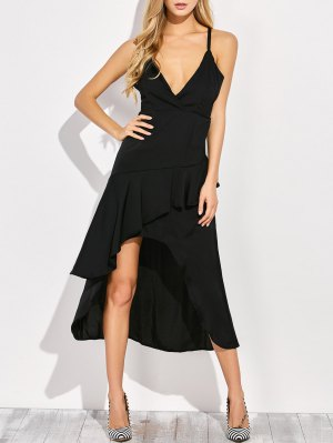 Thin Strap Asymmetric Ruffled Cocktail Dress - Black