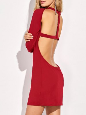 Long Sleeve Backless Bodycon Dress - Red