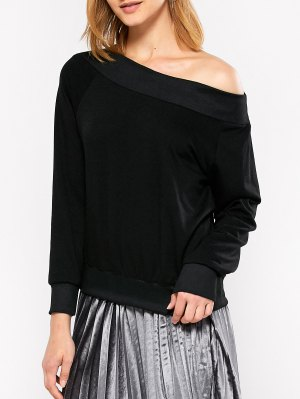 Casual One-Shoulder Sweatshirt - Black