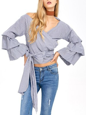 Layered Sleeve Striped Wrap Blouse - Blue And White