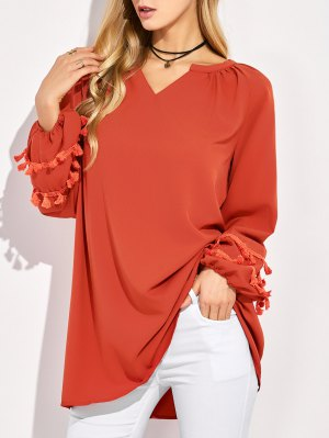 V Neck Tassel Blouse - Red