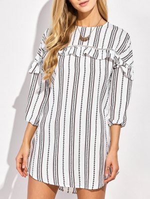 Round Neck Ruffles Striped Shift Dress - White