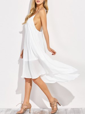 Sexy Backless High Low Slip Dress - White
