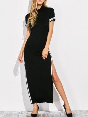Cut Out Side Slit Maxi Dress - Black