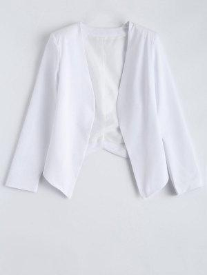 Collarless Open Front Blazer - White