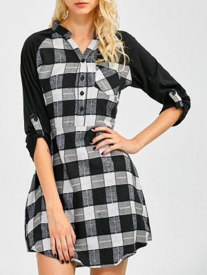 Checked Lace Panel Mini Shift Dress - Checked